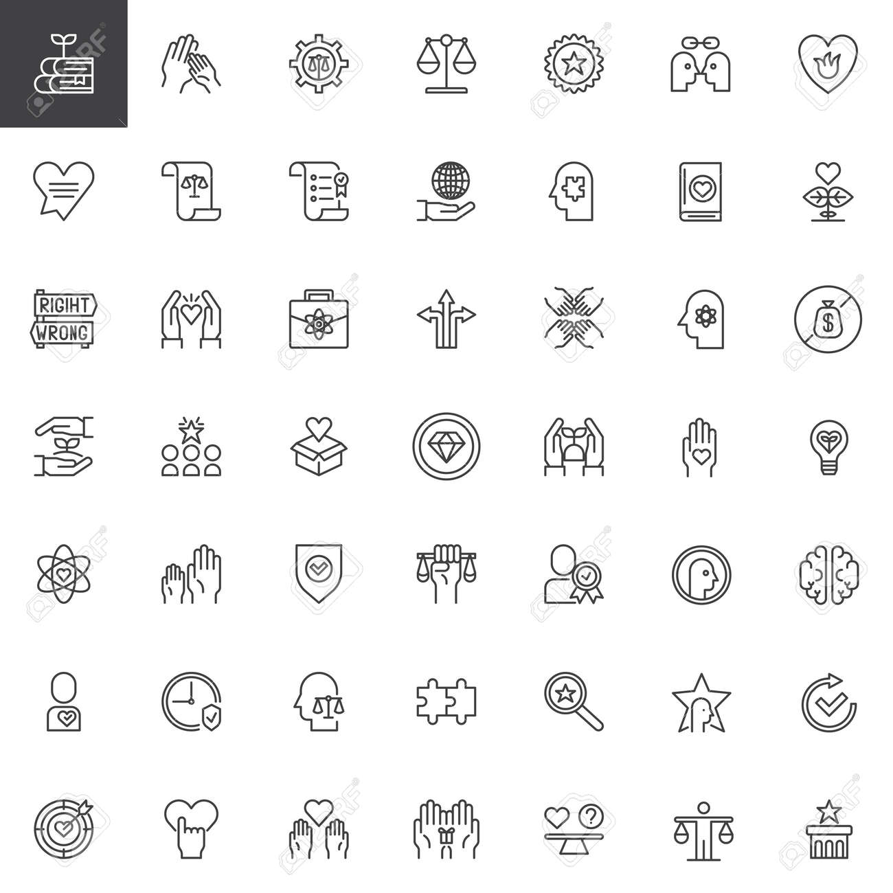 Ethics Universal Outline Icons Set Linear Symbols Collection