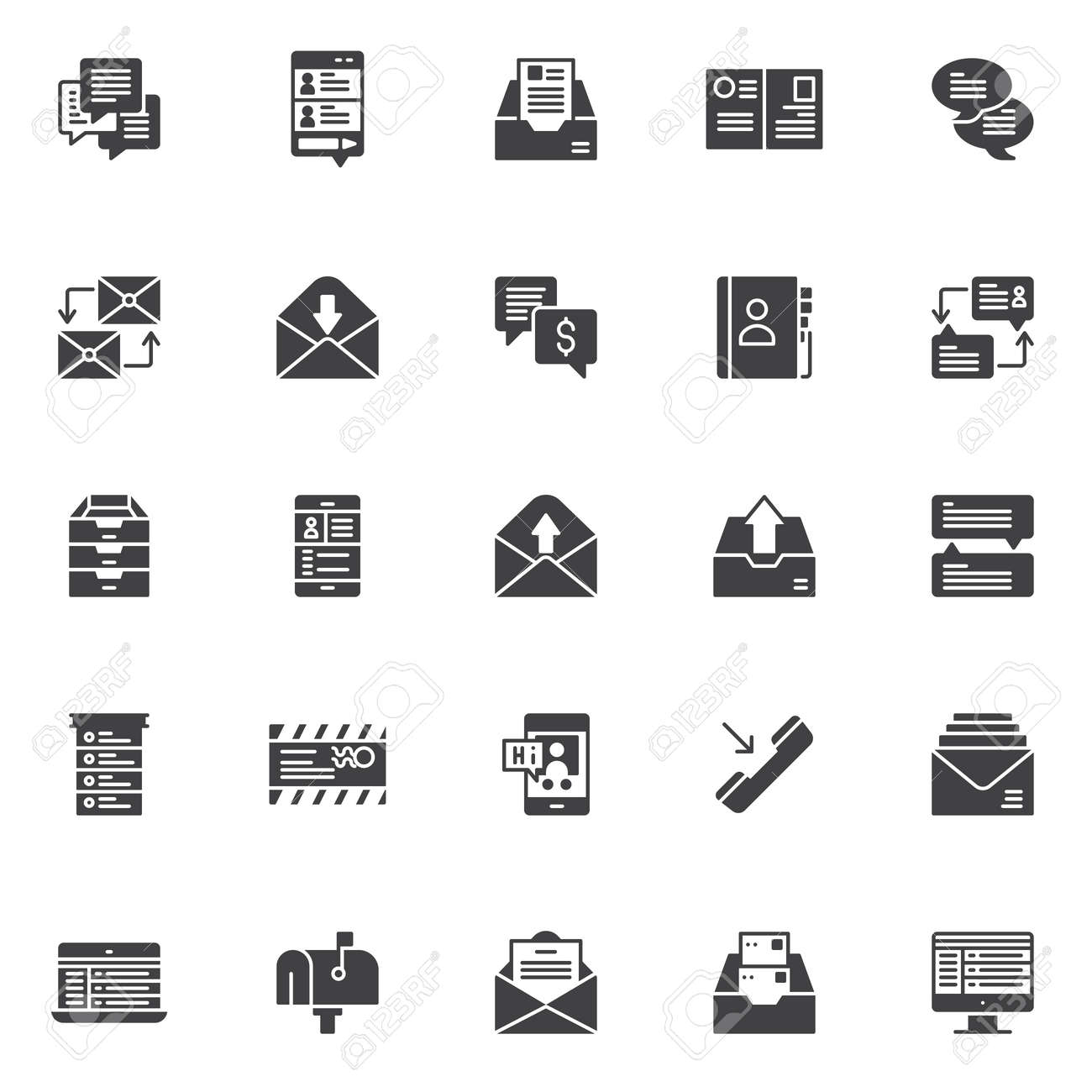 Dialogue Messages Vector Icons Set Modern Solid Symbol Collection