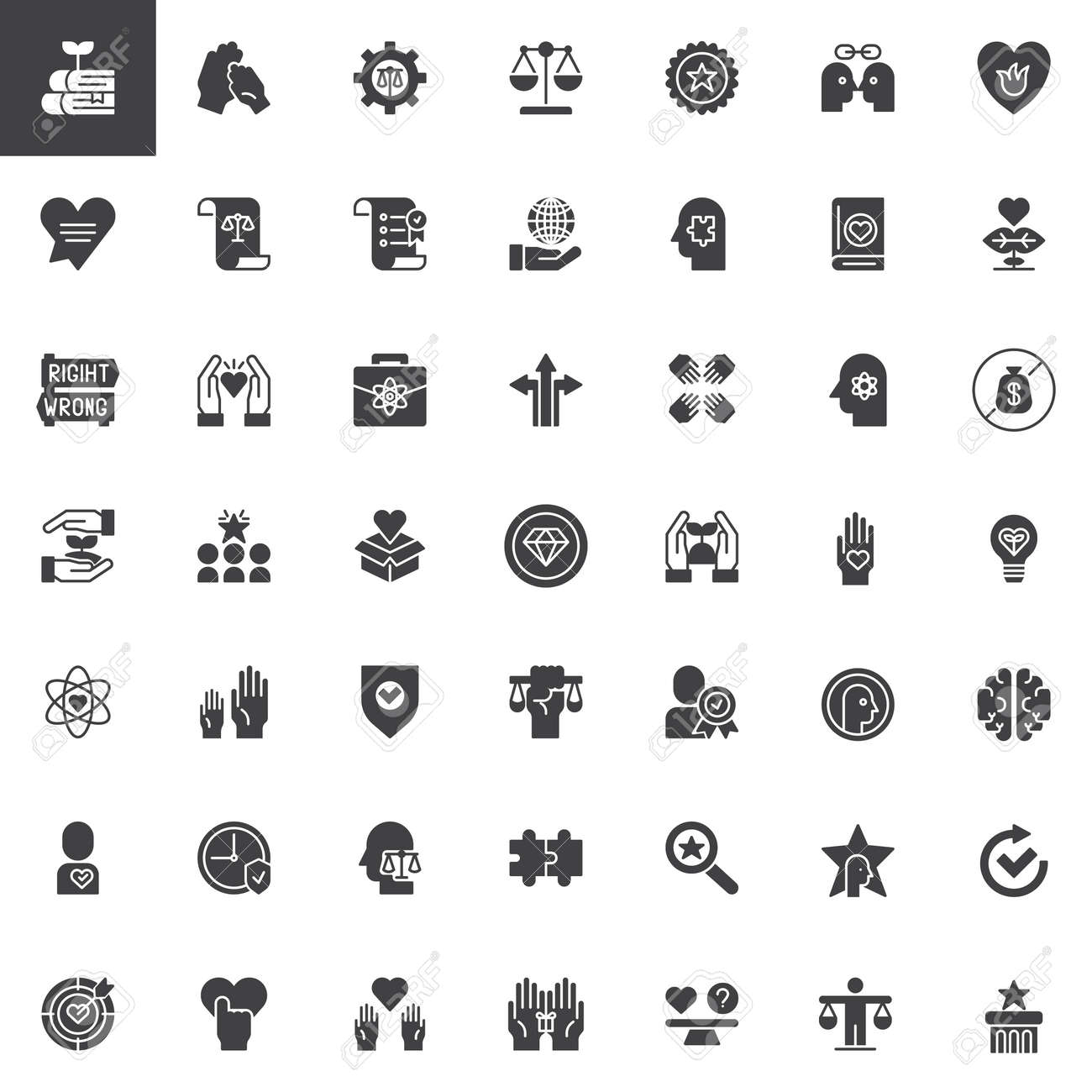 Ethics Universal Vector Icons Set Modern Solid Symbol Collection