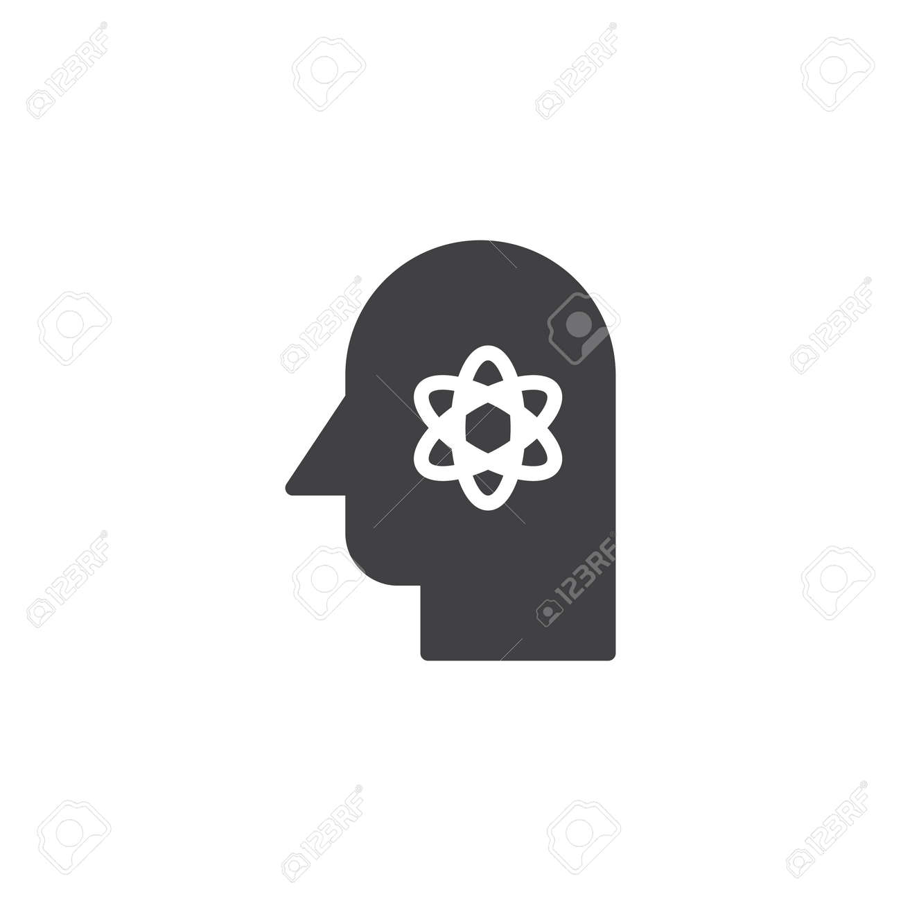 Human head with atom structure inside vector icon scientist human head with atom structure inside vector icon scientist filled flat sign for mobile concept ccuart Images
