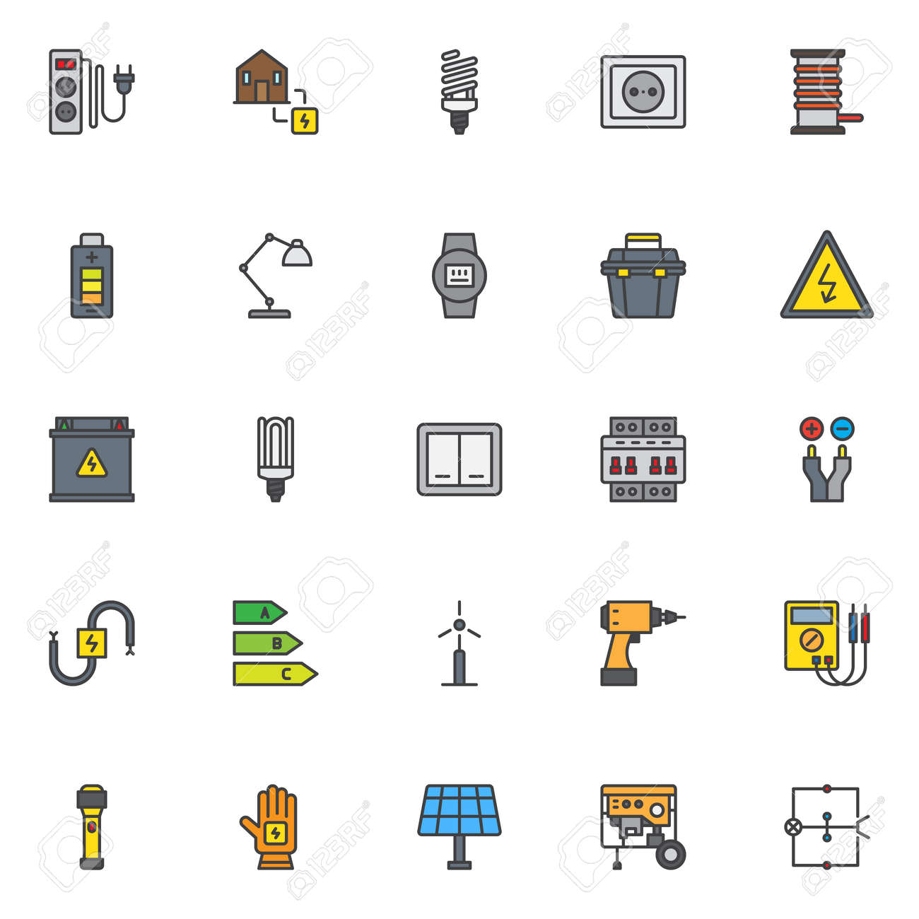 Electrician Elements Filled Outline Icons Set, Line Vector Symbol ...