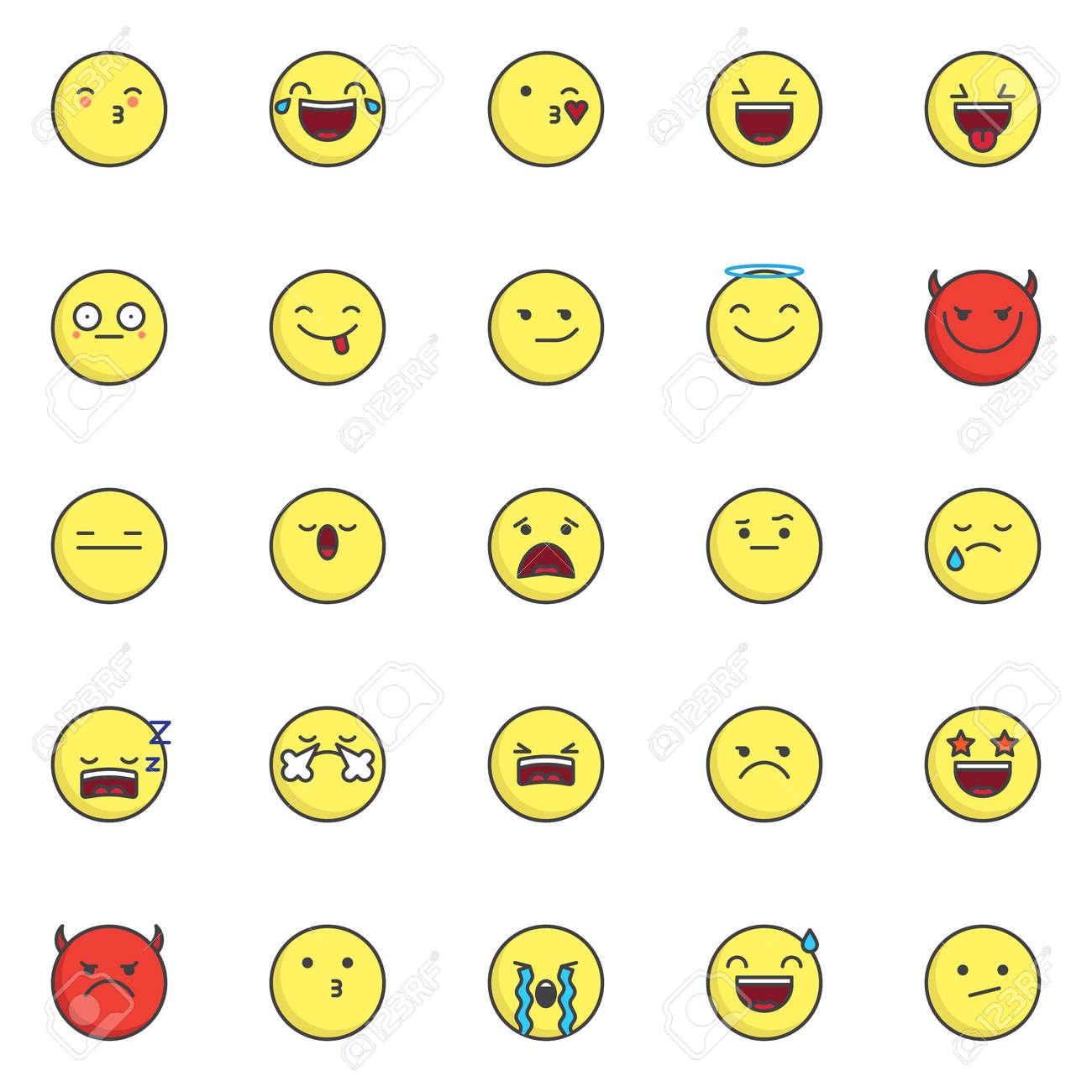 Emoji Smileys Filled Outline Icons Set Line Vector Symbol