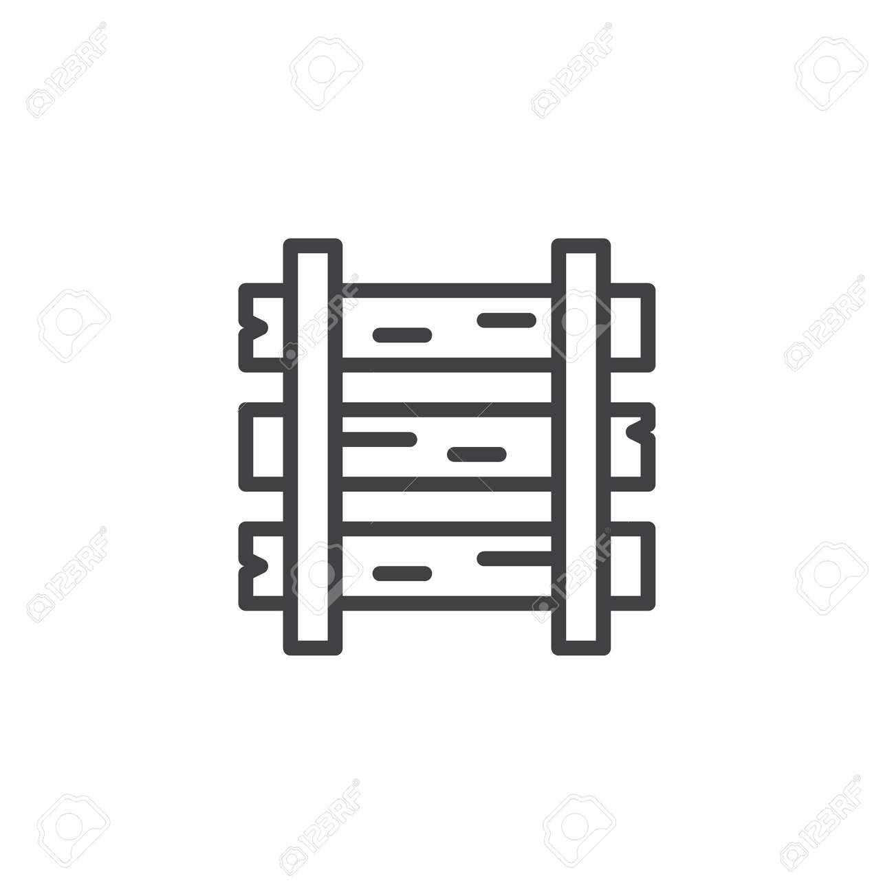 rails and sleepers outline icon linear style sign for mobile