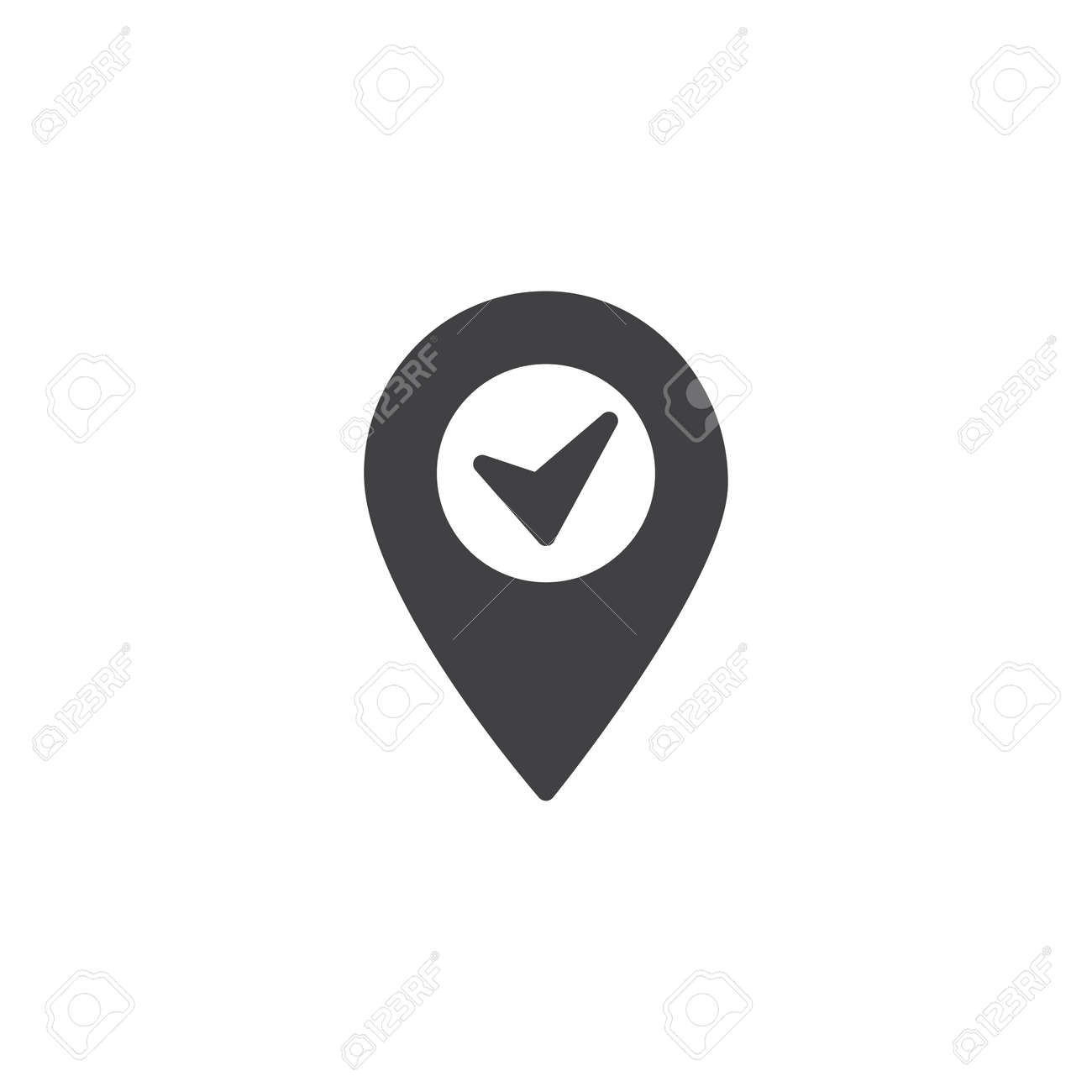 location pin with check mark vector icon filled flat sign for