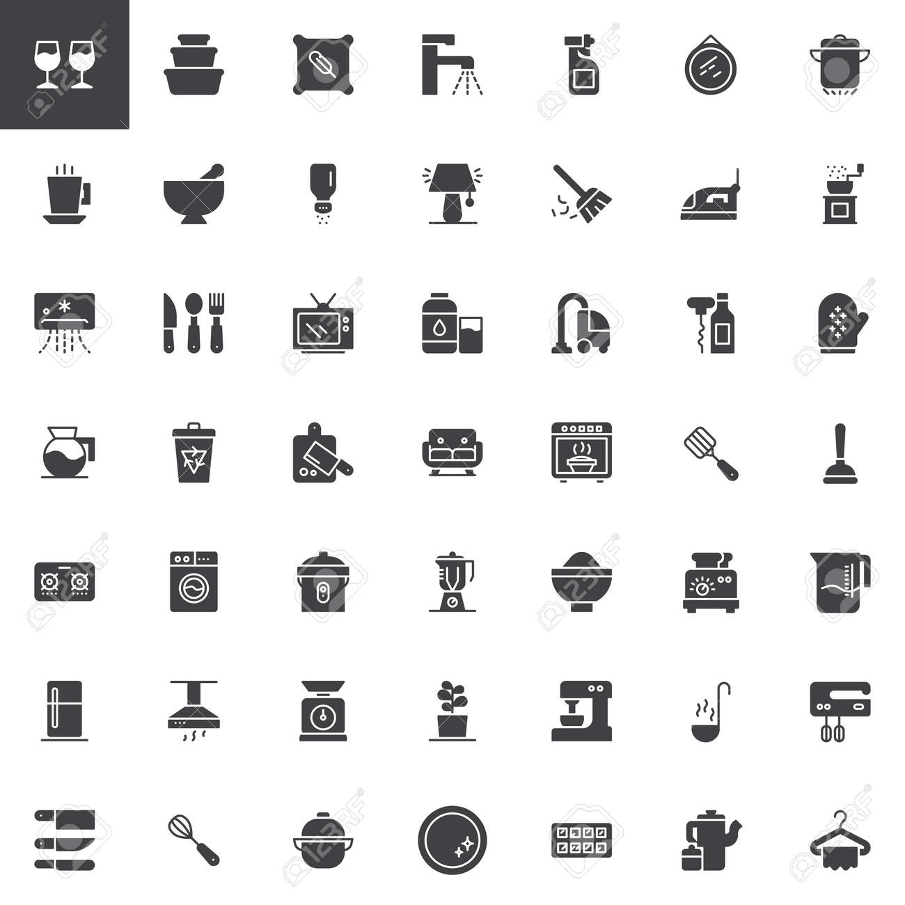 Homeware Vector Icons Set Modern Solid Symbol Collection Filled