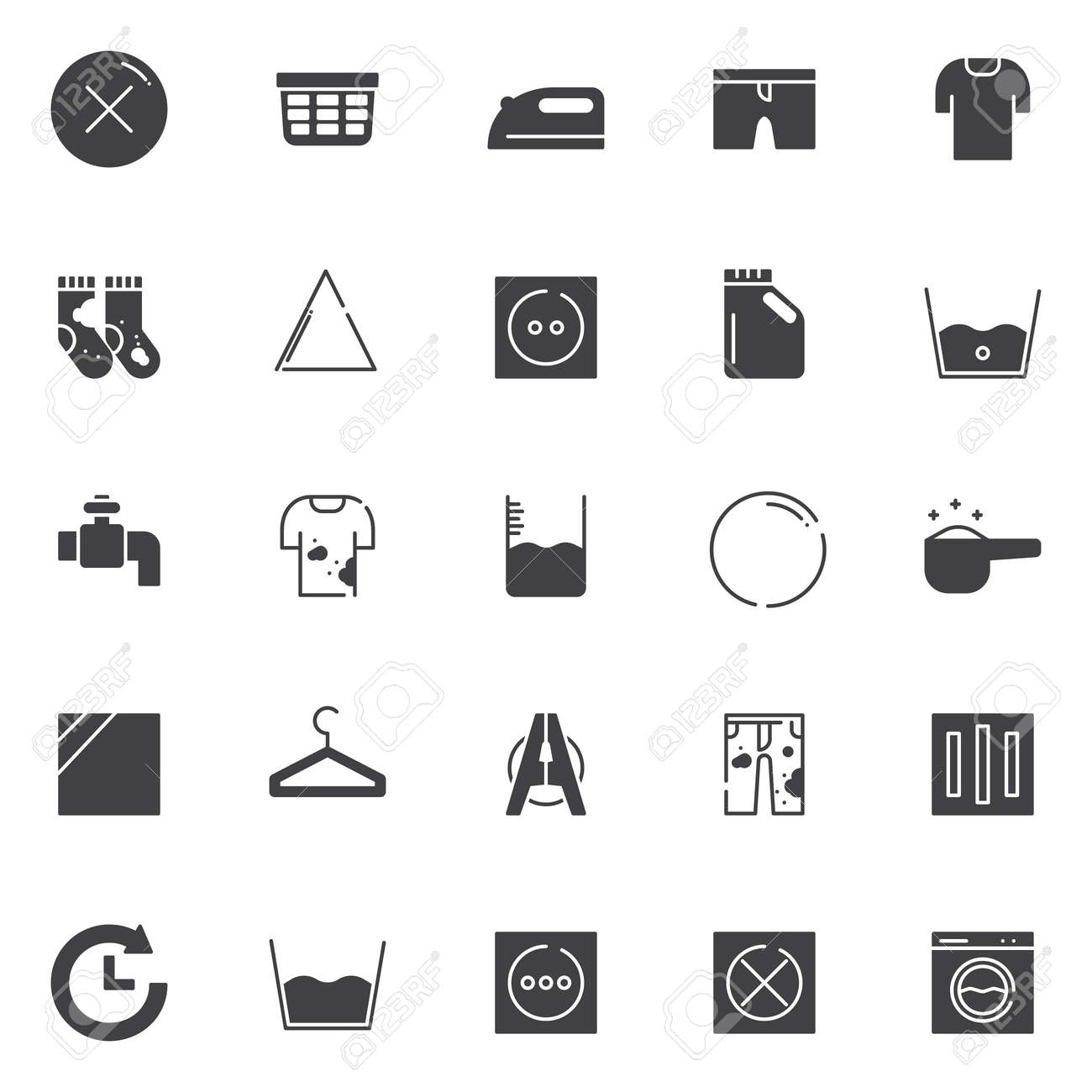 Laundry Vector Icons Set Modern Solid Symbol Collection Filled