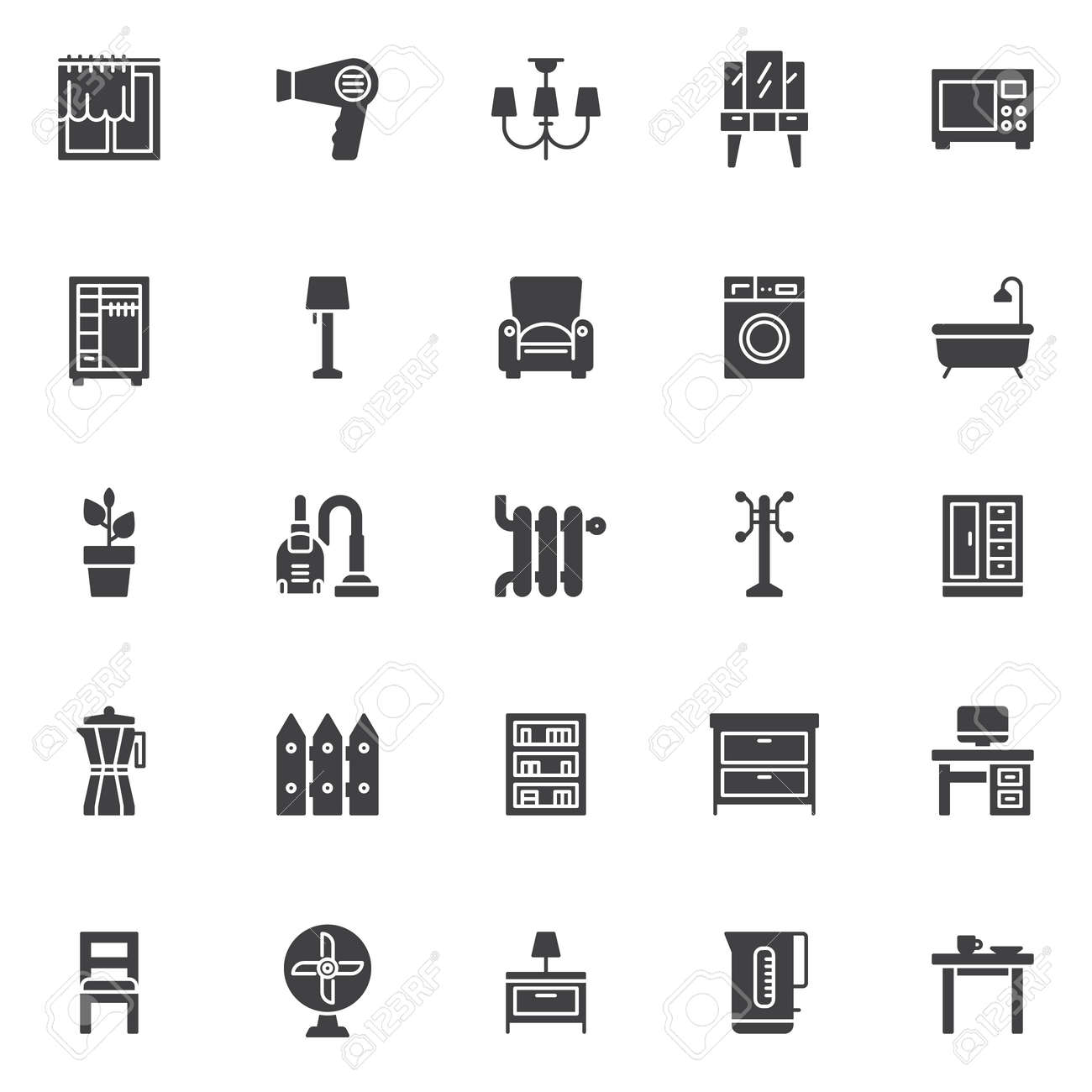 Home Accessories Vector Icons Set Modern Solid Symbol Collection