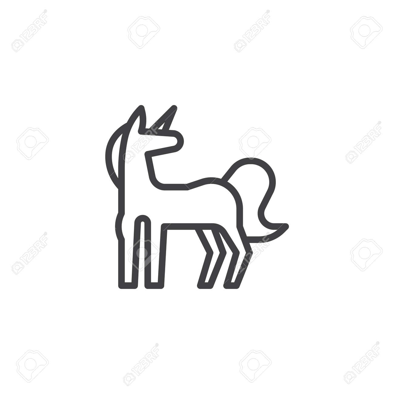 Unicorn Outline Icon. Linear Style Sign For Mobile Concept And Web Design.  Magic Cute
