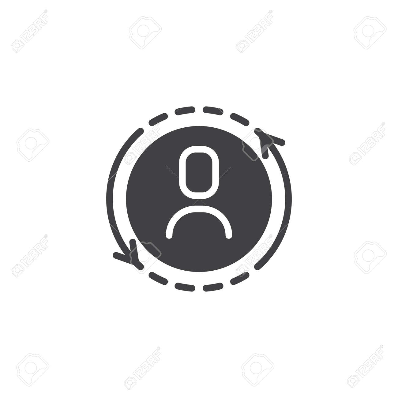 User replace vector icon. filled flat sign for mobile concept and web design. Substitution of a player solid icon. Symbol, logo illustration. Pixel perfect vector graphics - 101518231