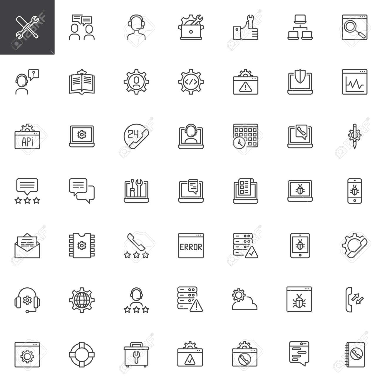 Tech support outline icons set. linear style symbols collection, line signs pack. vector graphics. Set includes icons as Settings, Conversation, Customer support, Online Repair, Technical Guide - 101705076