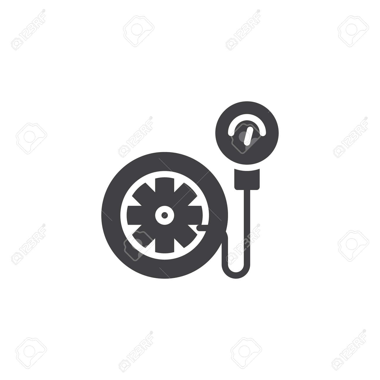 Tire Pressure Gauge Vector Icon Filled Flat Sign For Mobile
