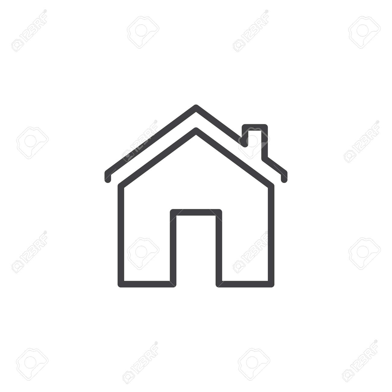 House With Chimney Outline Icon Linear Style Sign For Mobile Royalty Free Cliparts Vectors And Stock Illustration Image 102804045
