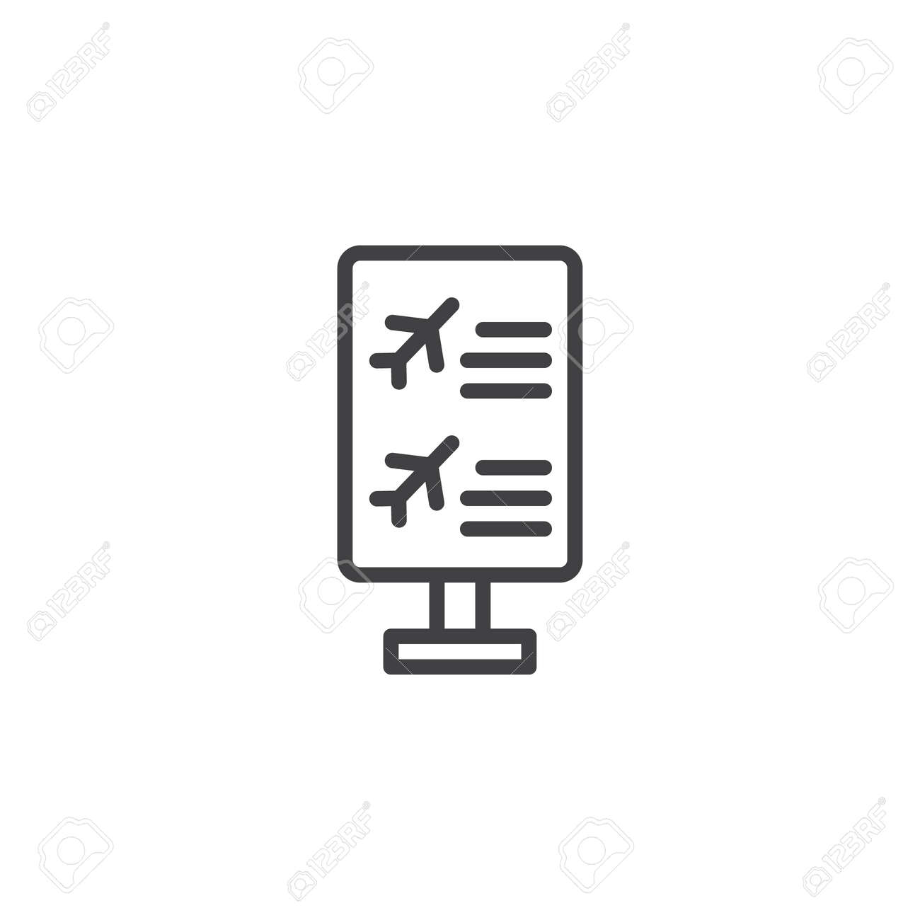 Style Board Flight Outline Sign Icon Information Linear For