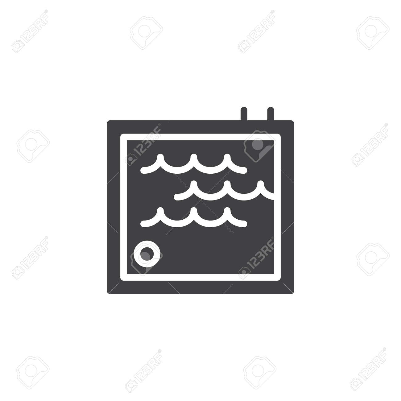 Swimming pool with ladder vector icon. filled flat sign for mobile concept and web design. Water park area simple solid icon. Symbol, logo illustration. Pixel perfect vector graphics - 103017302