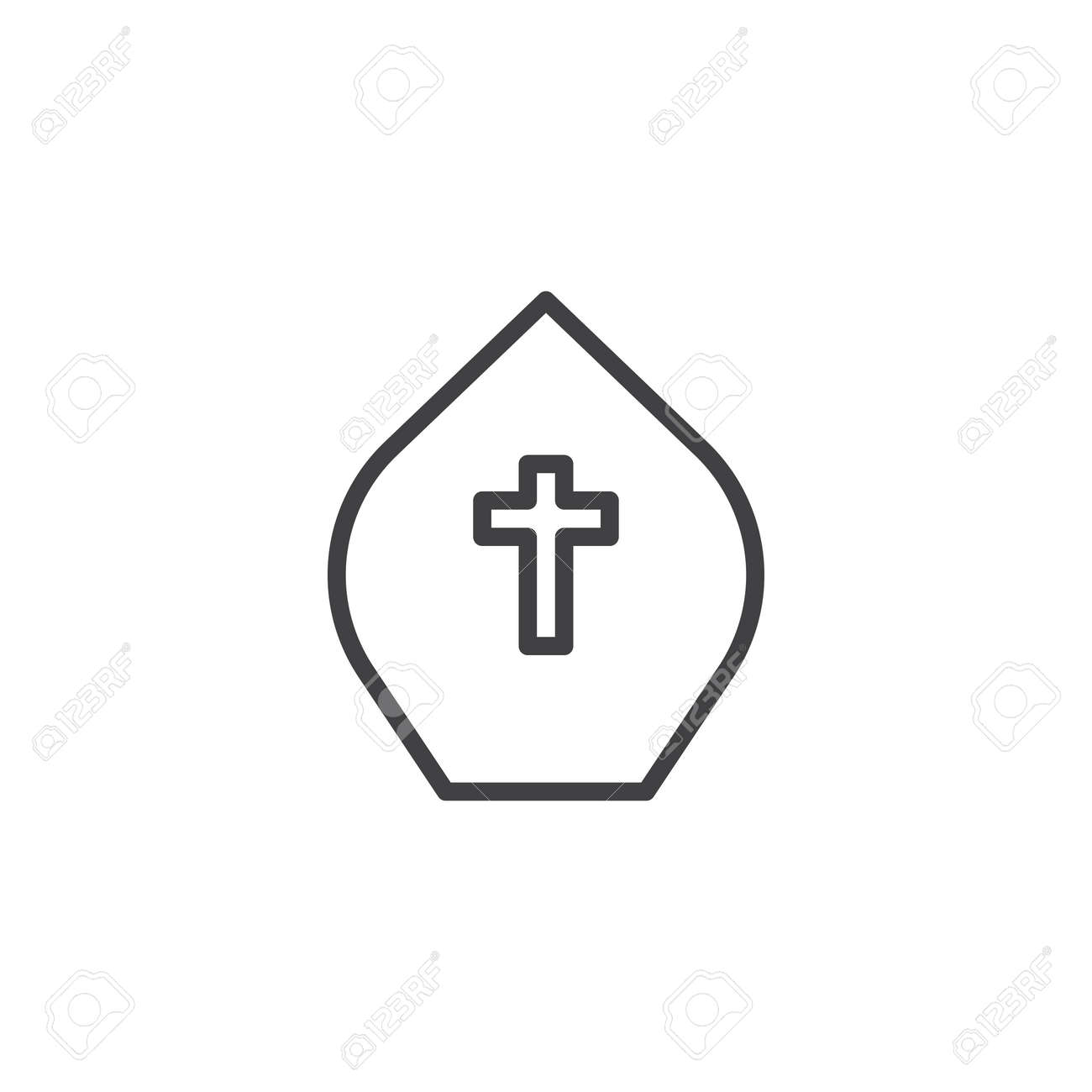 Pope Hat Outline Icon Linear Style Sign For Mobile Concept And