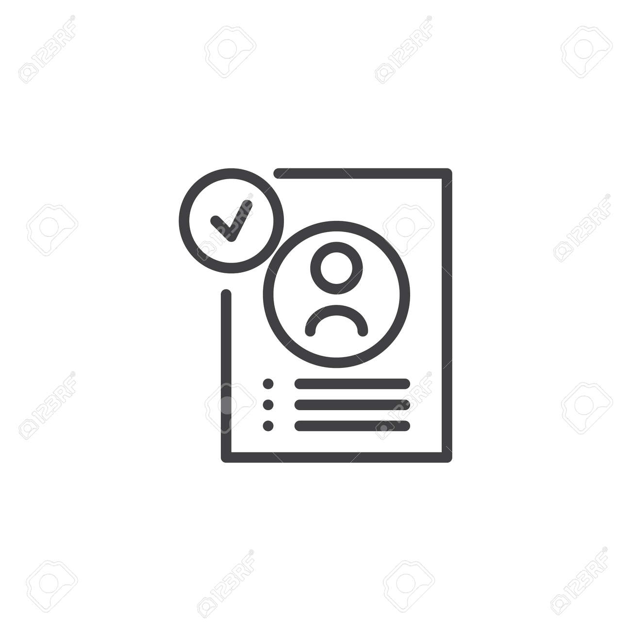 Approved Resume Outline Icon. Linear Style Sign For Mobile Concept ...