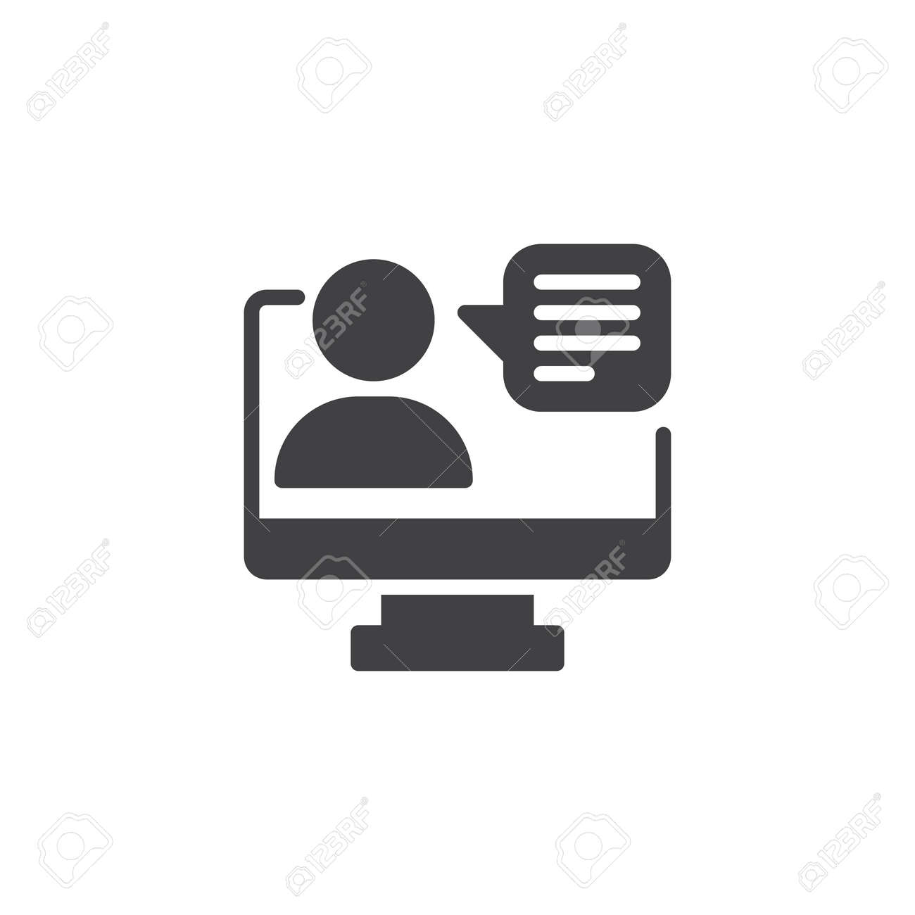 Video conference vector icon. filled flat sign for mobile concept and web design. monitor user simple solid icon. Symbol, logo illustration. Pixel perfect vector graphics - 104535204