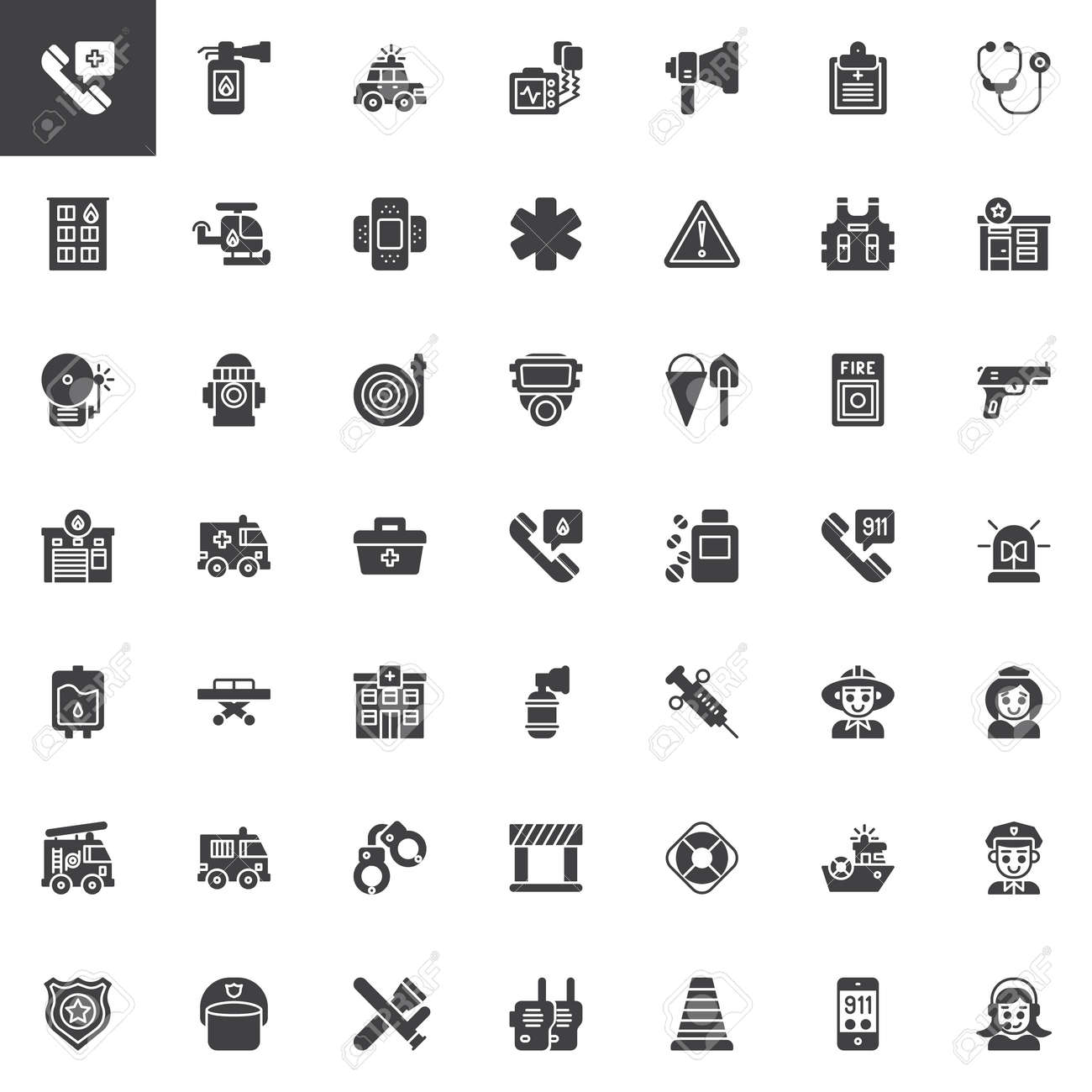 Emergency Services Vector Icons Set Modern Solid Symbol Collection