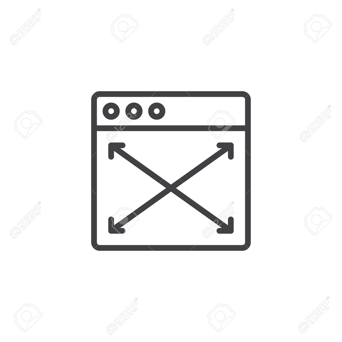Browser window size outline icon  linear style sign for mobile