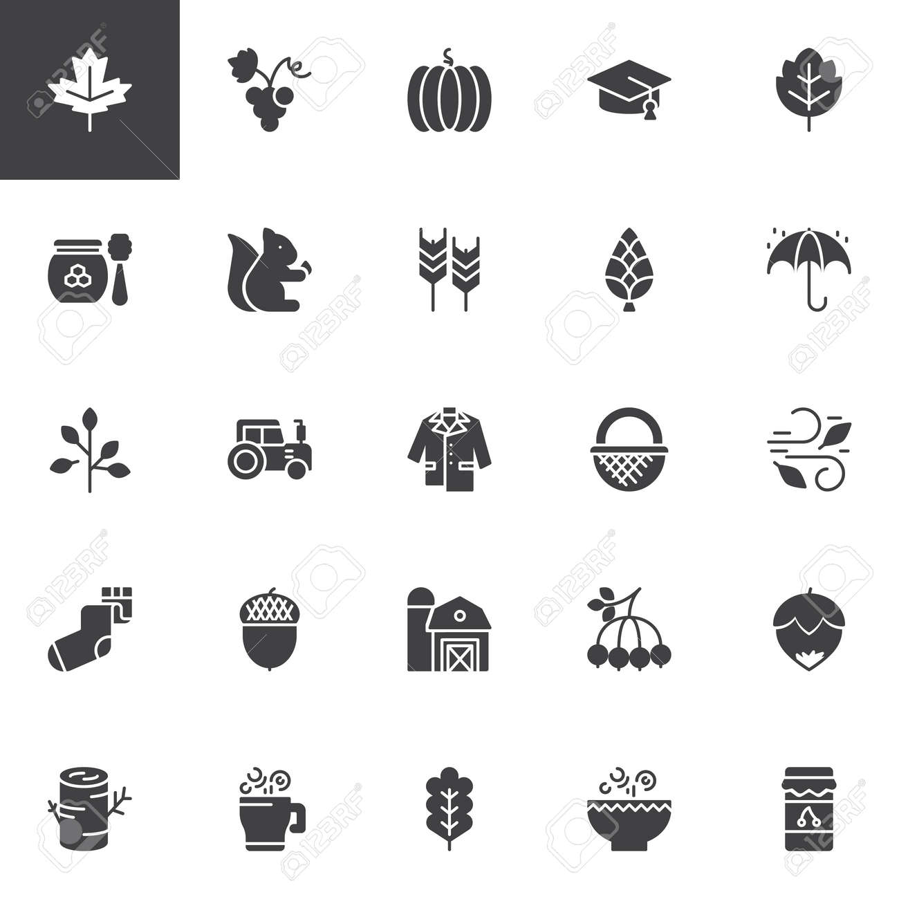Autumn Elements Vector Icons Set Modern Solid Symbol Collection