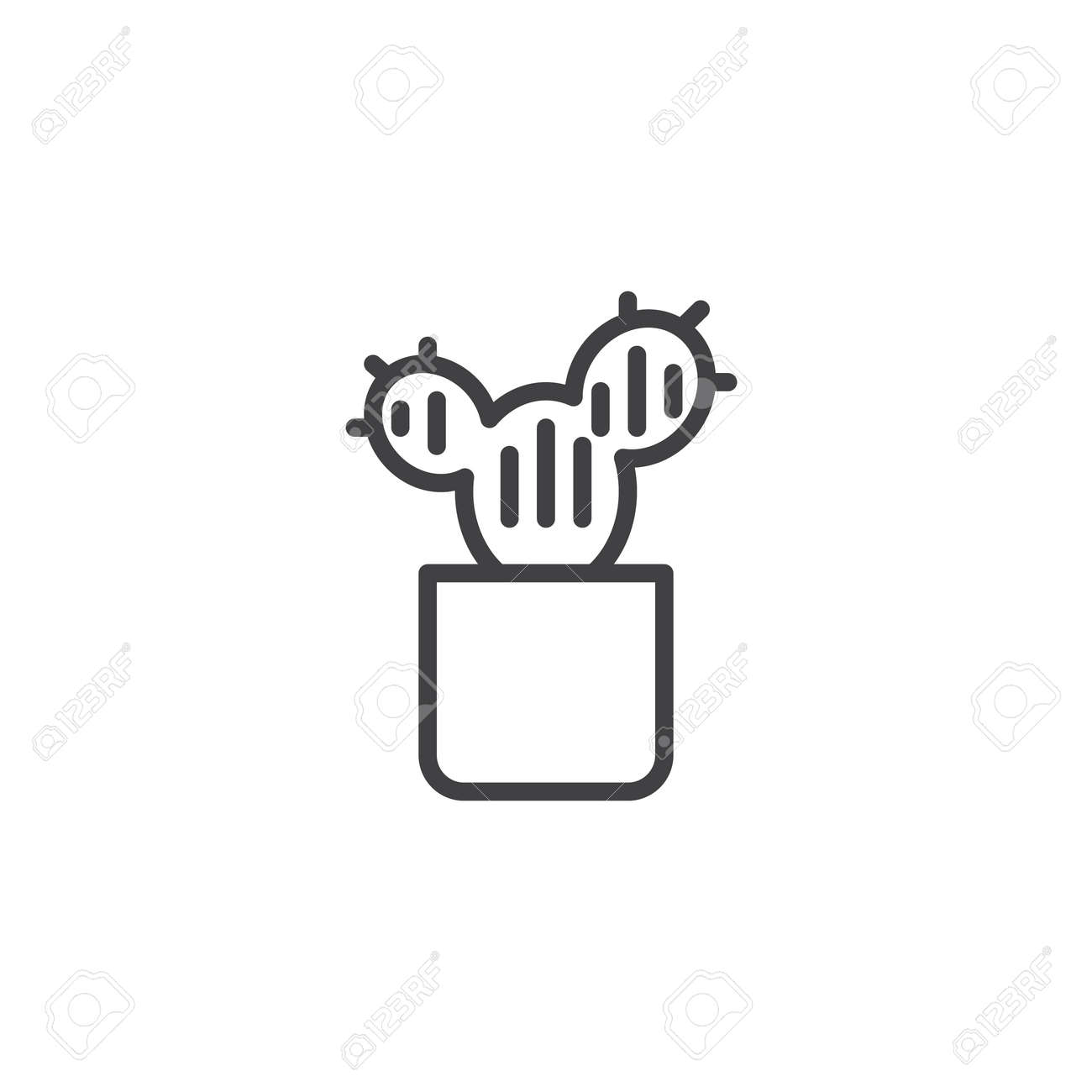 Cactus in flower pot outline icon. linear style sign for mobile concept and web design  sc 1 st  123RF.com & Cactus In Flower Pot Outline Icon. Linear Style Sign For Mobile ...