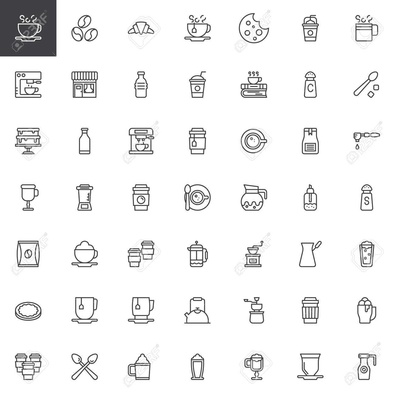 Coffee Shop Outline Icons Set Linear Style Symbols Collection