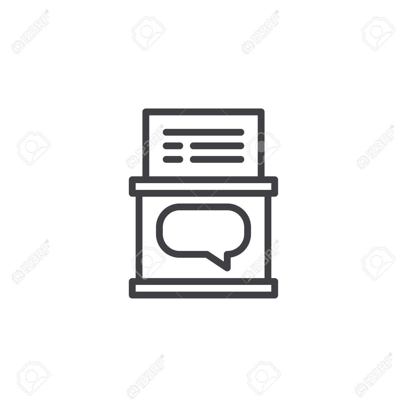 comment box with paper document outline icon linear style sign royalty free cliparts vectors and stock illustration image 109704178 123rf com