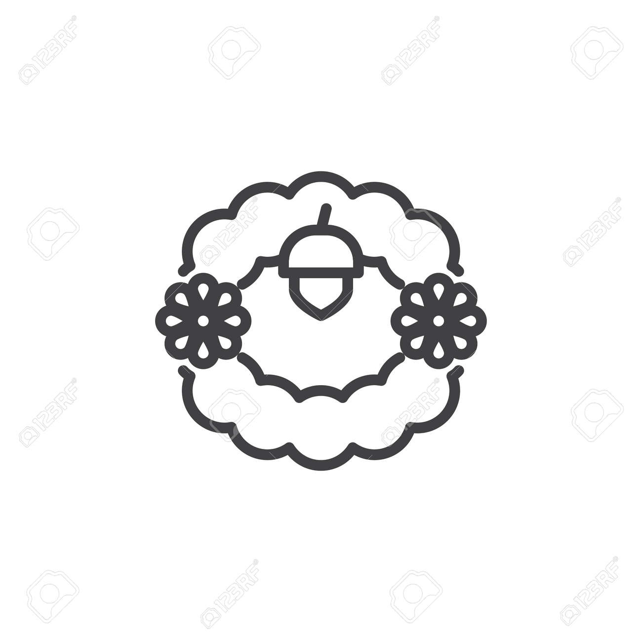 Christmas Wreath Outline Icon Linear Style Sign For Mobile Concept