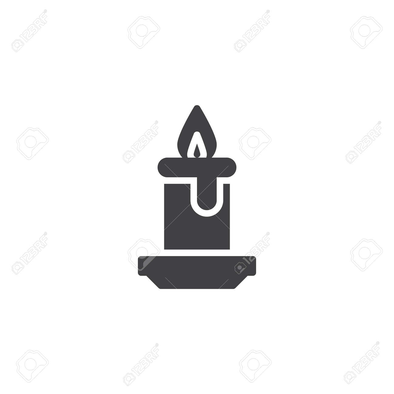 Candle light burn vector icon  filled flat sign for mobile concept