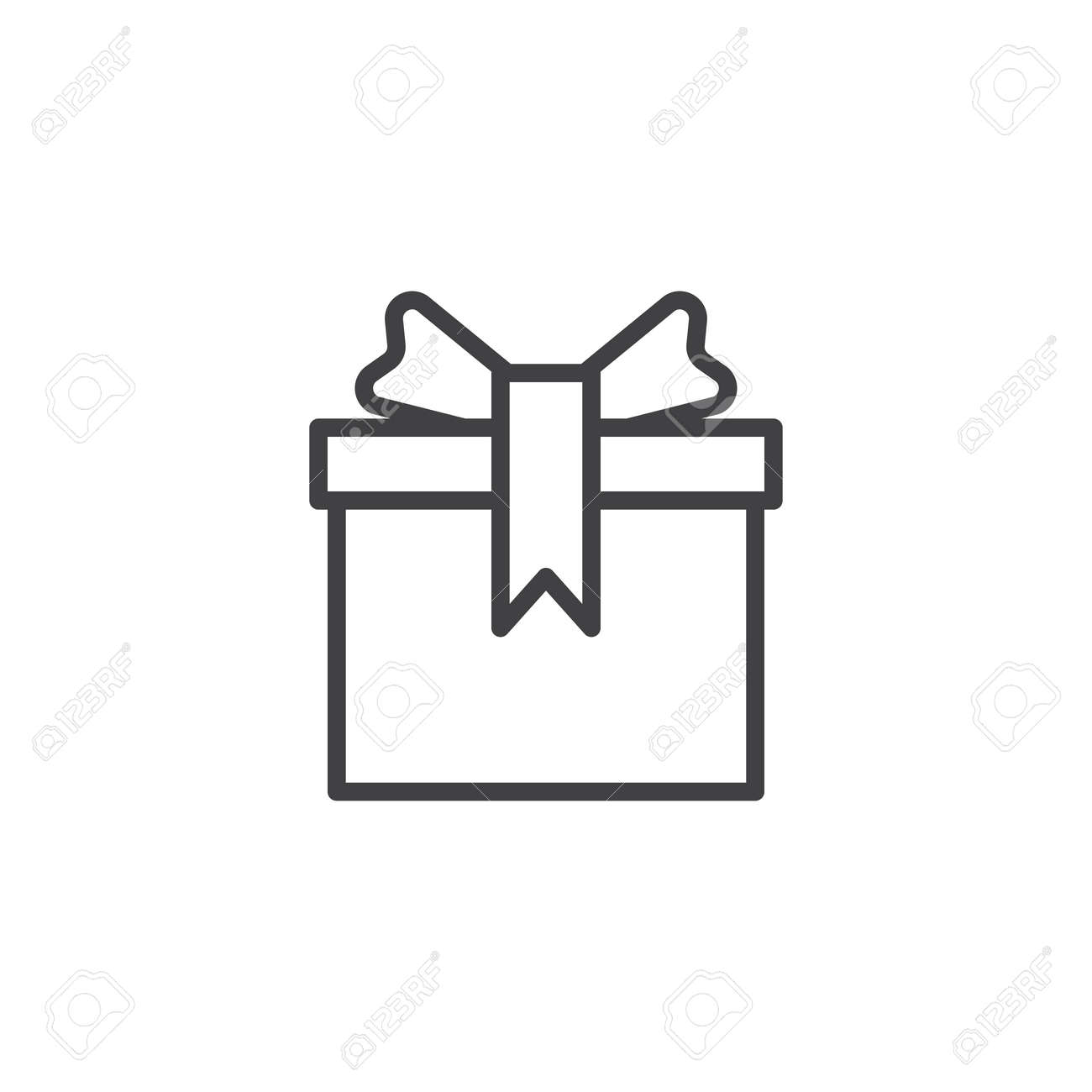 Birthday Gift Box With Bow Ribbon Outline Icon Linear Style Sign For Mobile Concept And