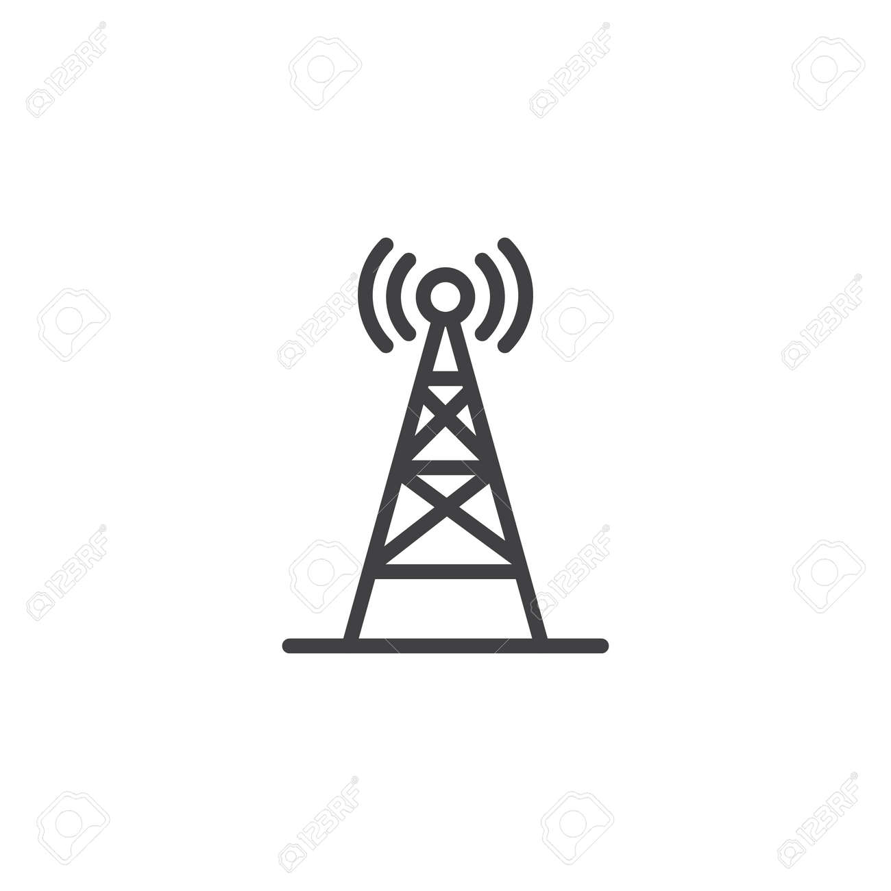 Radio antenna wireless outline icon  Linear style sign for mobile