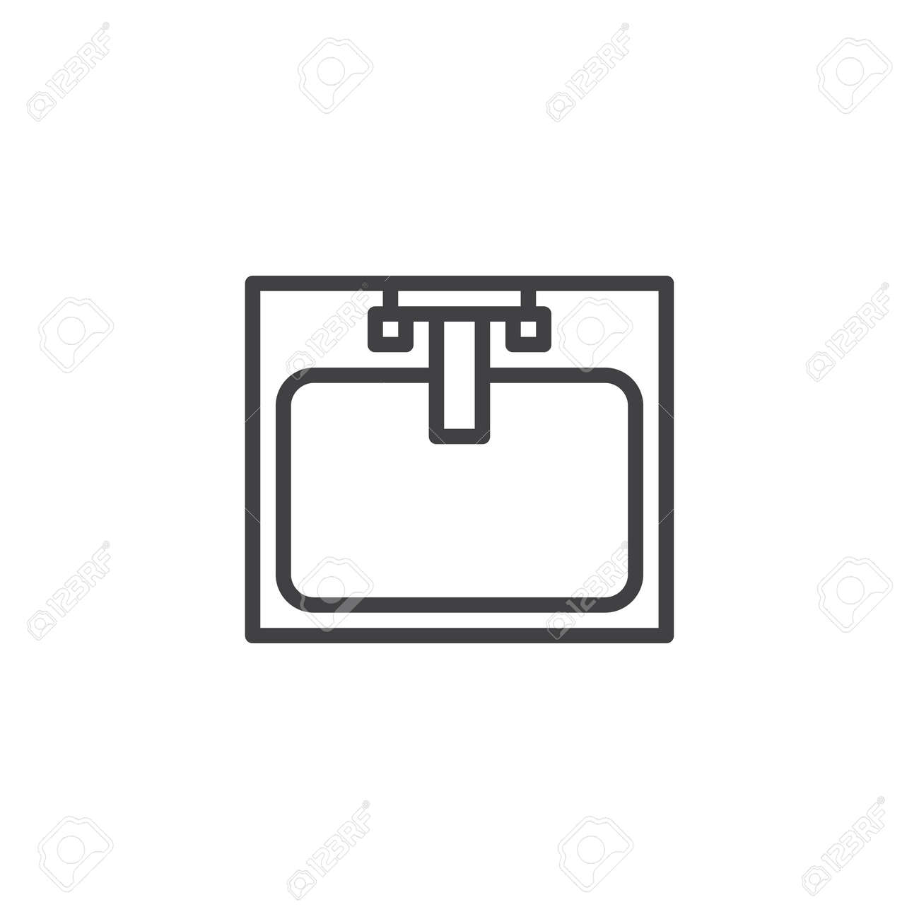 Sink With Faucet Top View Outline Icon Linear Style Sign For