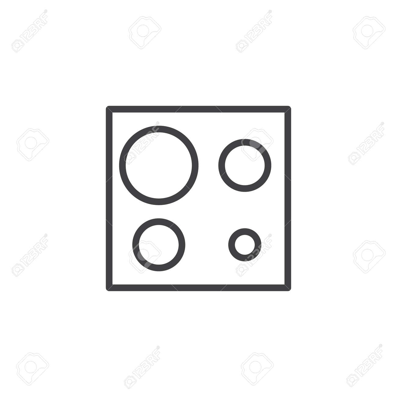 Electric Stove Top View Outline Icon Linear Style Sign For Mobile