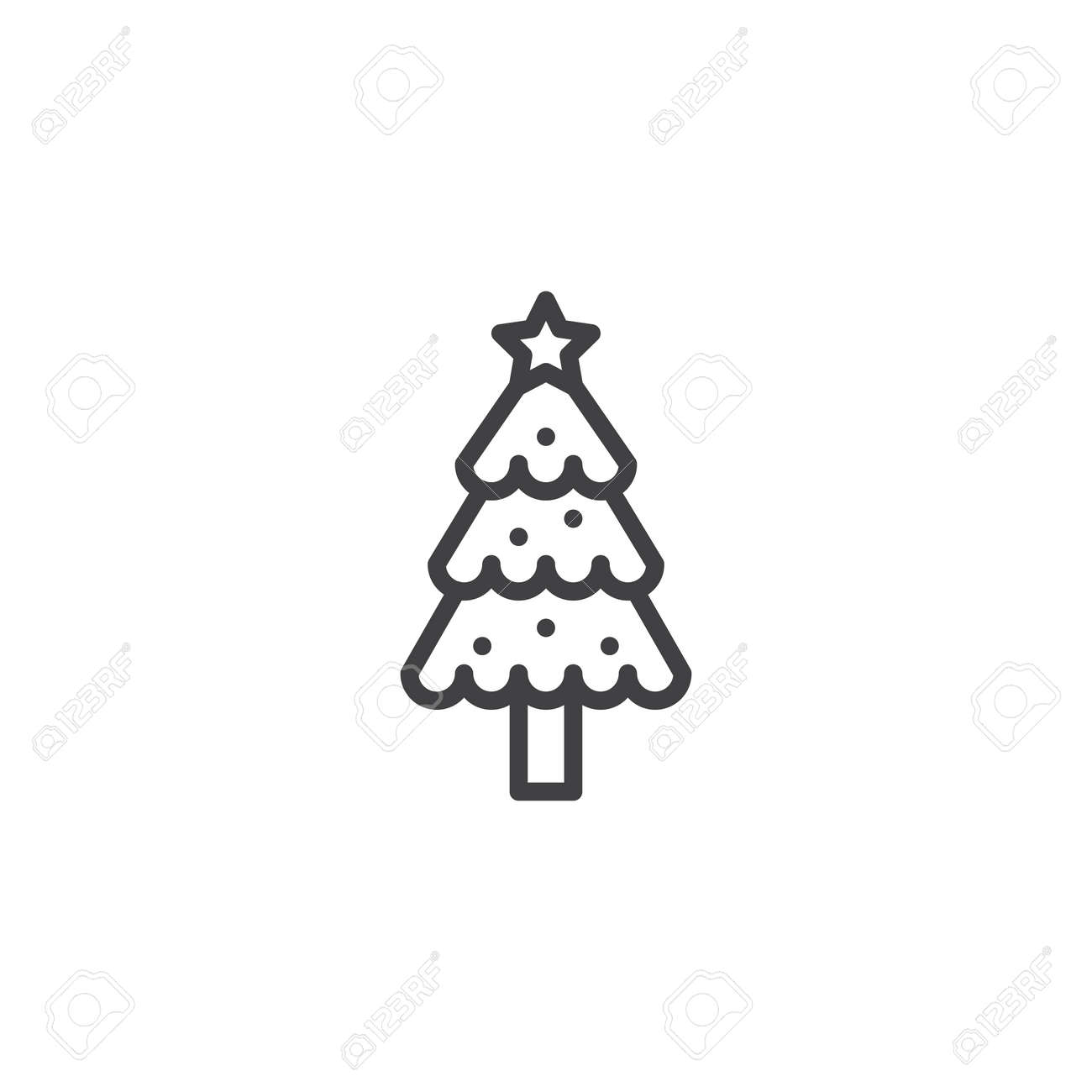 Decorated Christmas Tree Outline Icon Linear Style Sign For