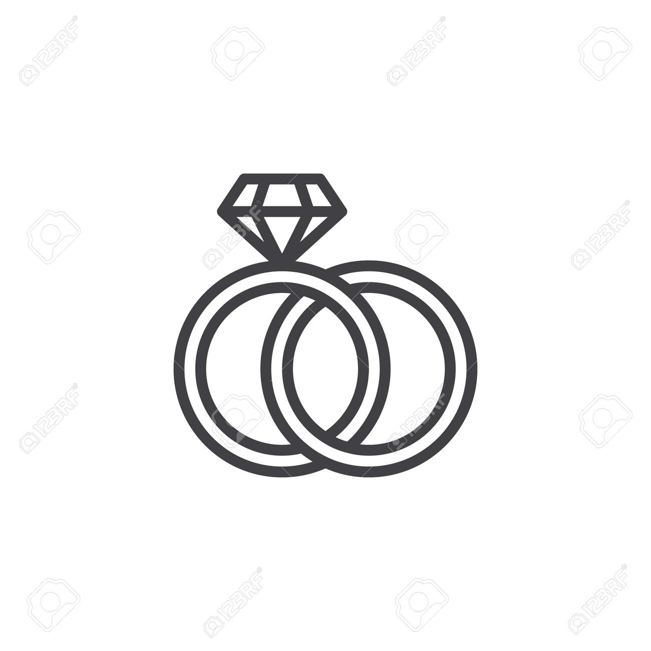 Engagement Rings Outline Icon Linear Style Sign For Mobile Concept