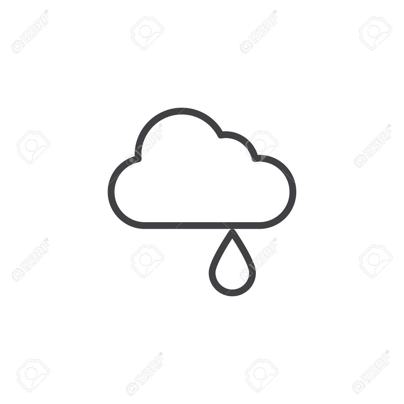 Cloud with rain outline icon  linear style sign for mobile concept