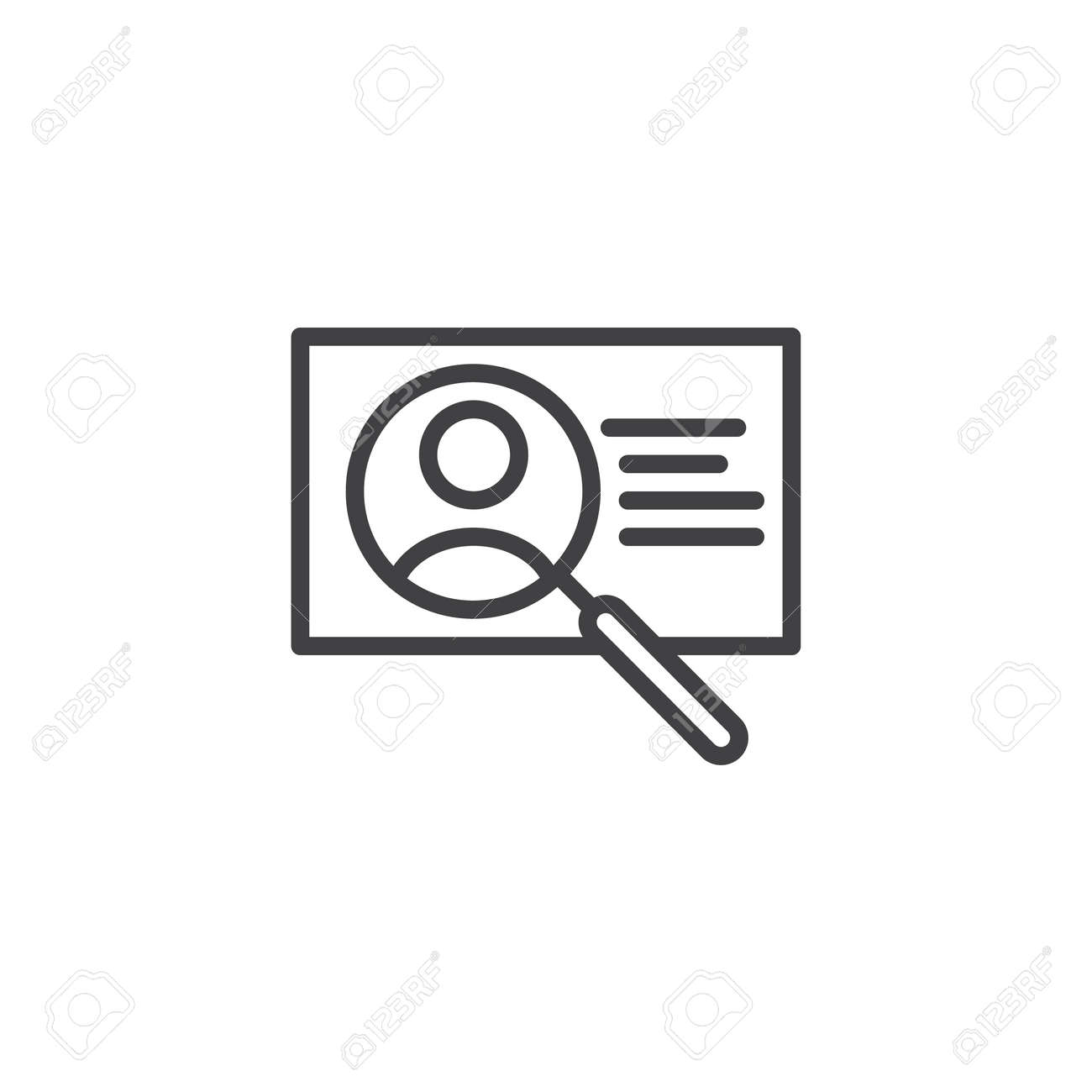 id card search outline icon  linear style sign for mobile concept