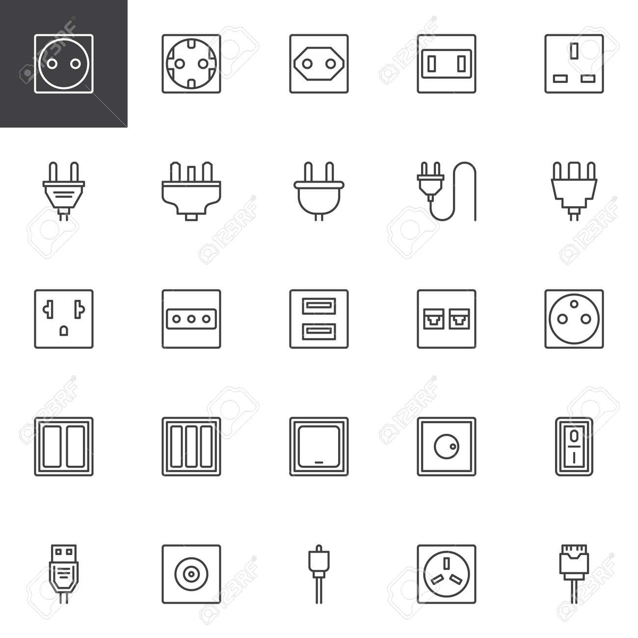 Plug And Socket Types Outline Icons Set Linear Style Symbols Royalty Free Cliparts Vectors And Stock Illustration Image 114458251