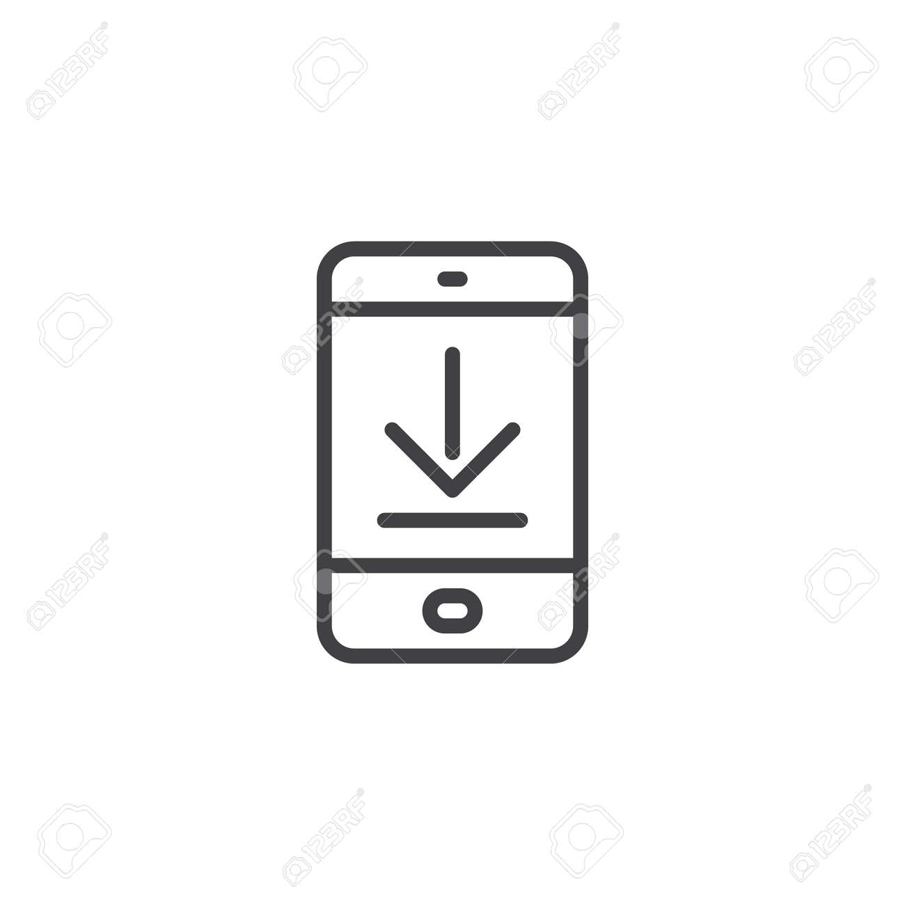 Download mobile app screen outline icon  linear style sign for