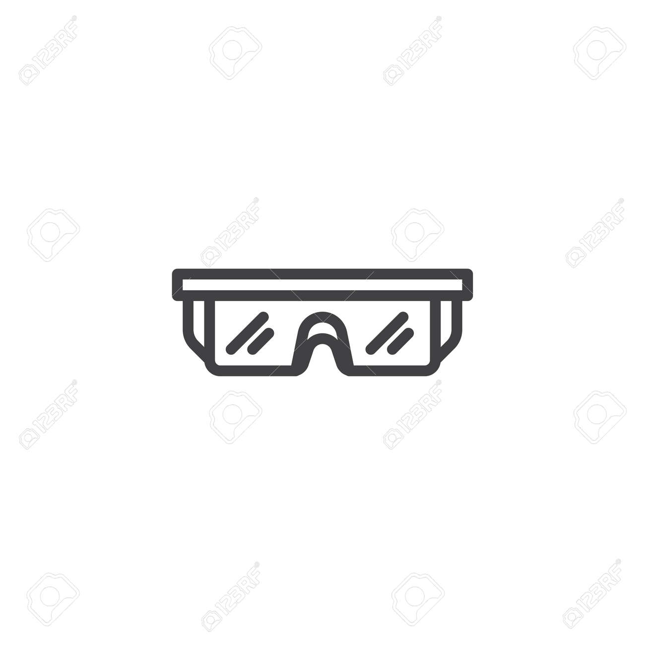 Safety Glasses Line Icon Eye Protection Linear Style Sign For