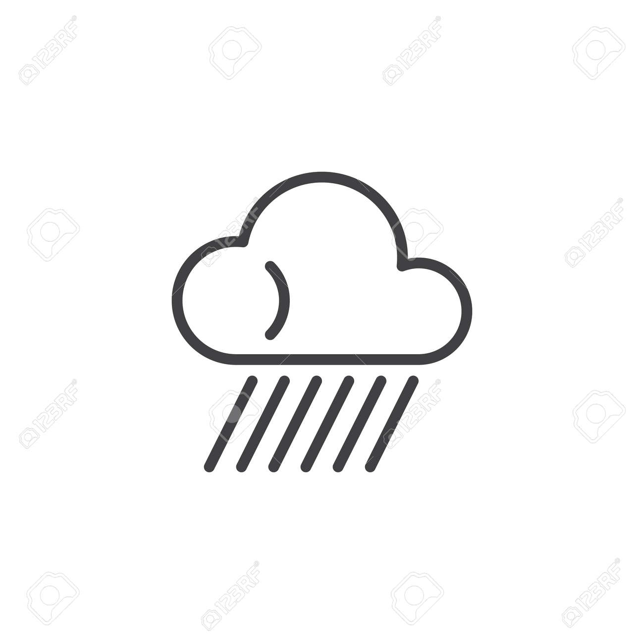 Rainy cloud line icon  linear style sign for mobile concept and