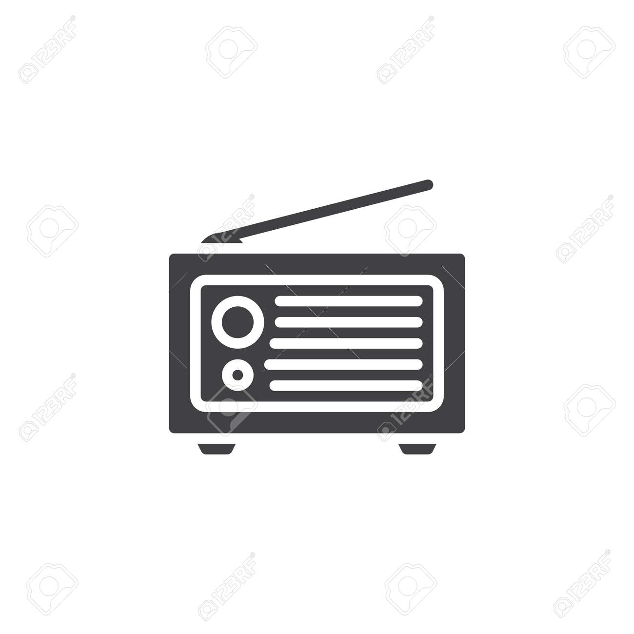 Retro radio vector icon  filled flat sign for mobile concept