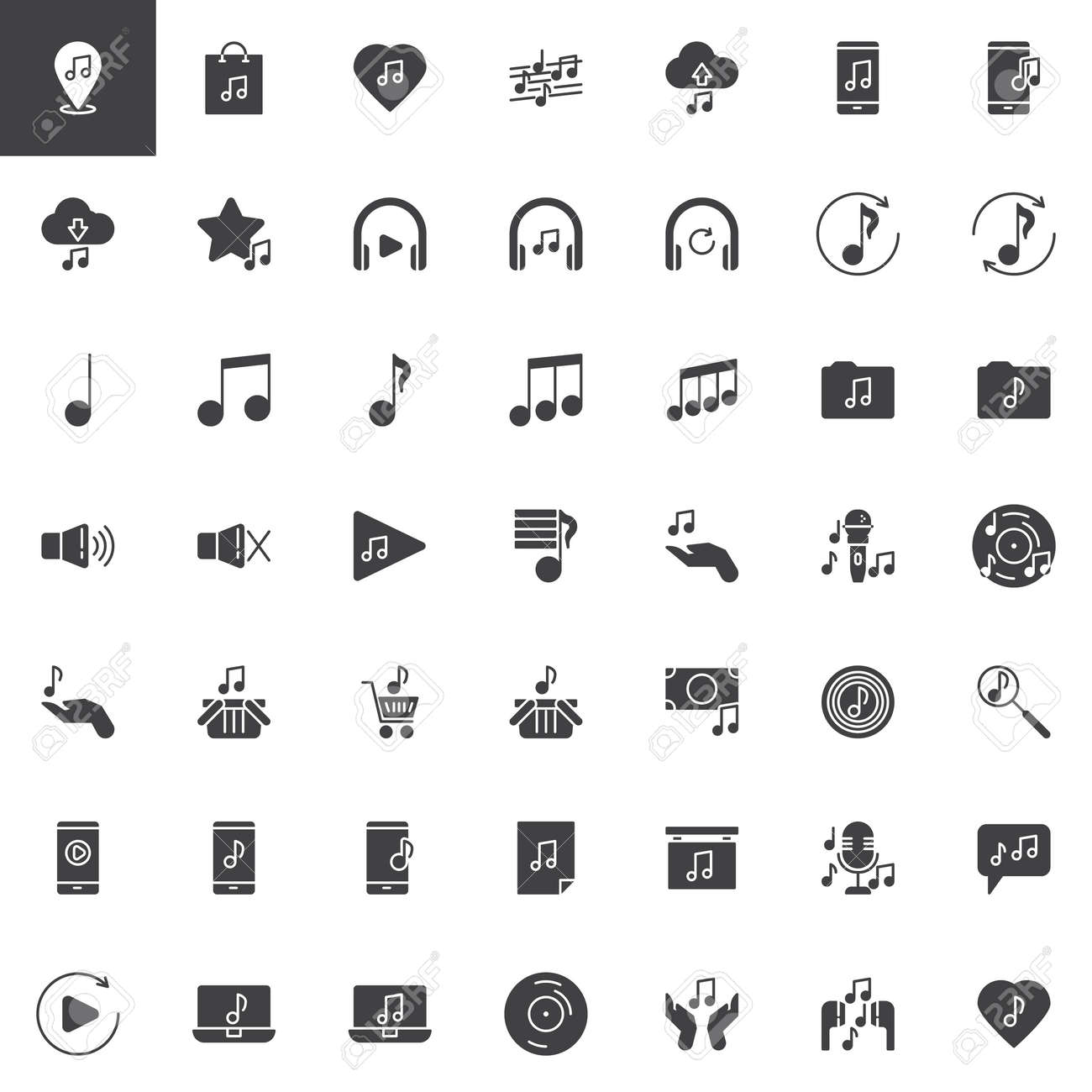 Music and sound vector icons set, modern solid symbol collection,