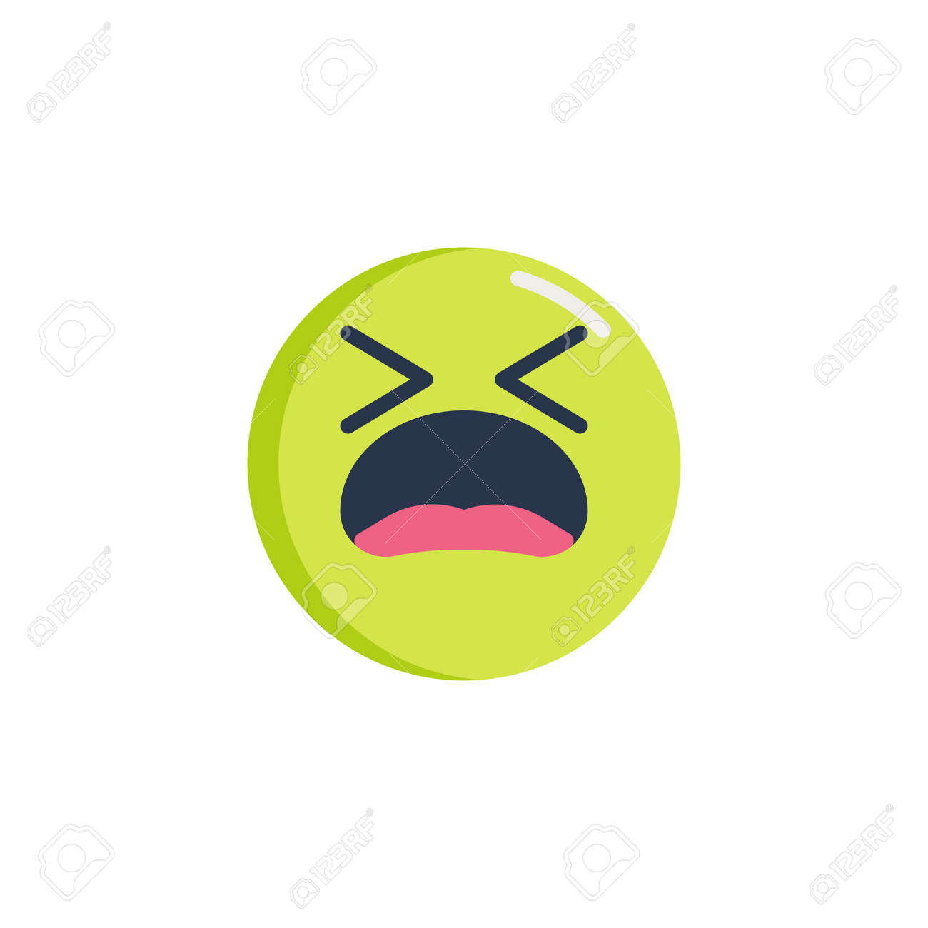 Tired Face emoticon flat icon, Suffering Face emoji vector sign,