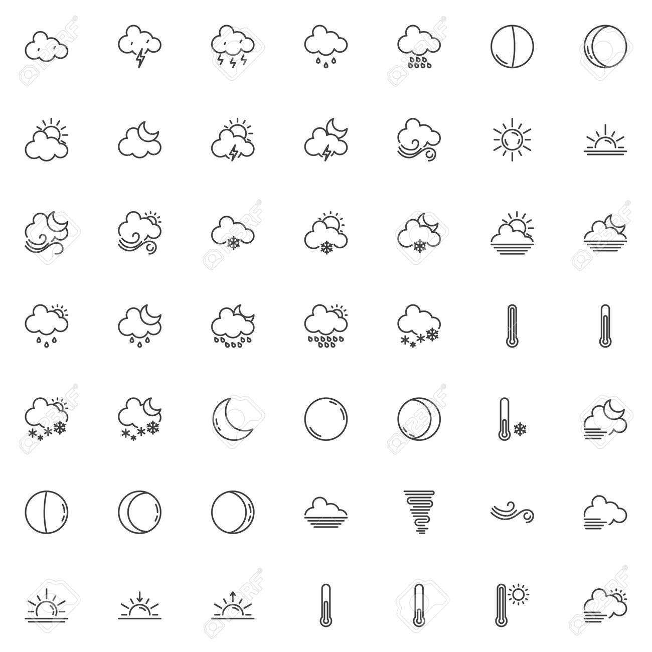 Weather line icons set  Forecast linear style symbols collection,