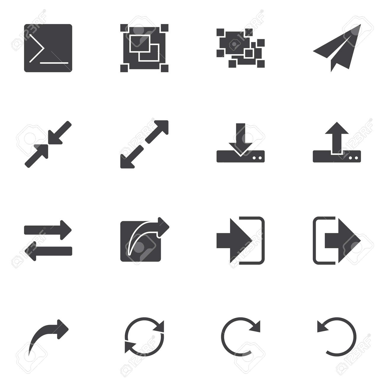 Basic UI elements vector icons set, modern solid symbol collection, filled style pictogram pack. Signs, logo illustration. Set includes icons as download, upload arrows, resize arrows, transfer file - 128287149