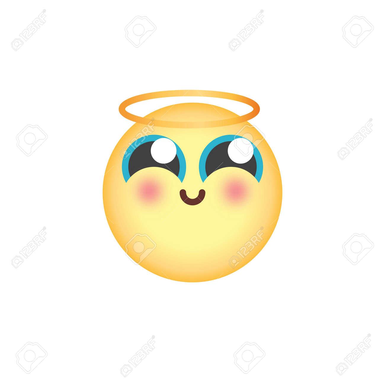 Smiling Face With Halo Emoticon Flat Icon Angel Emoji Vector