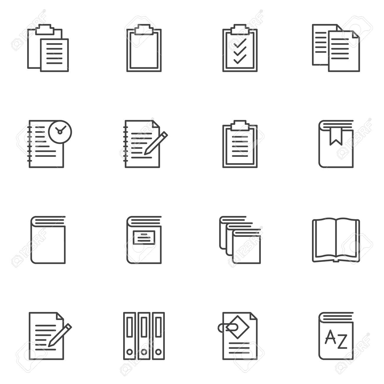 Document file folders line icons set. linear style symbols collection, outline signs pack. vector graphics. Set includes icons as paper clipboard, task list, open book page, office folders, notebook - 129809801