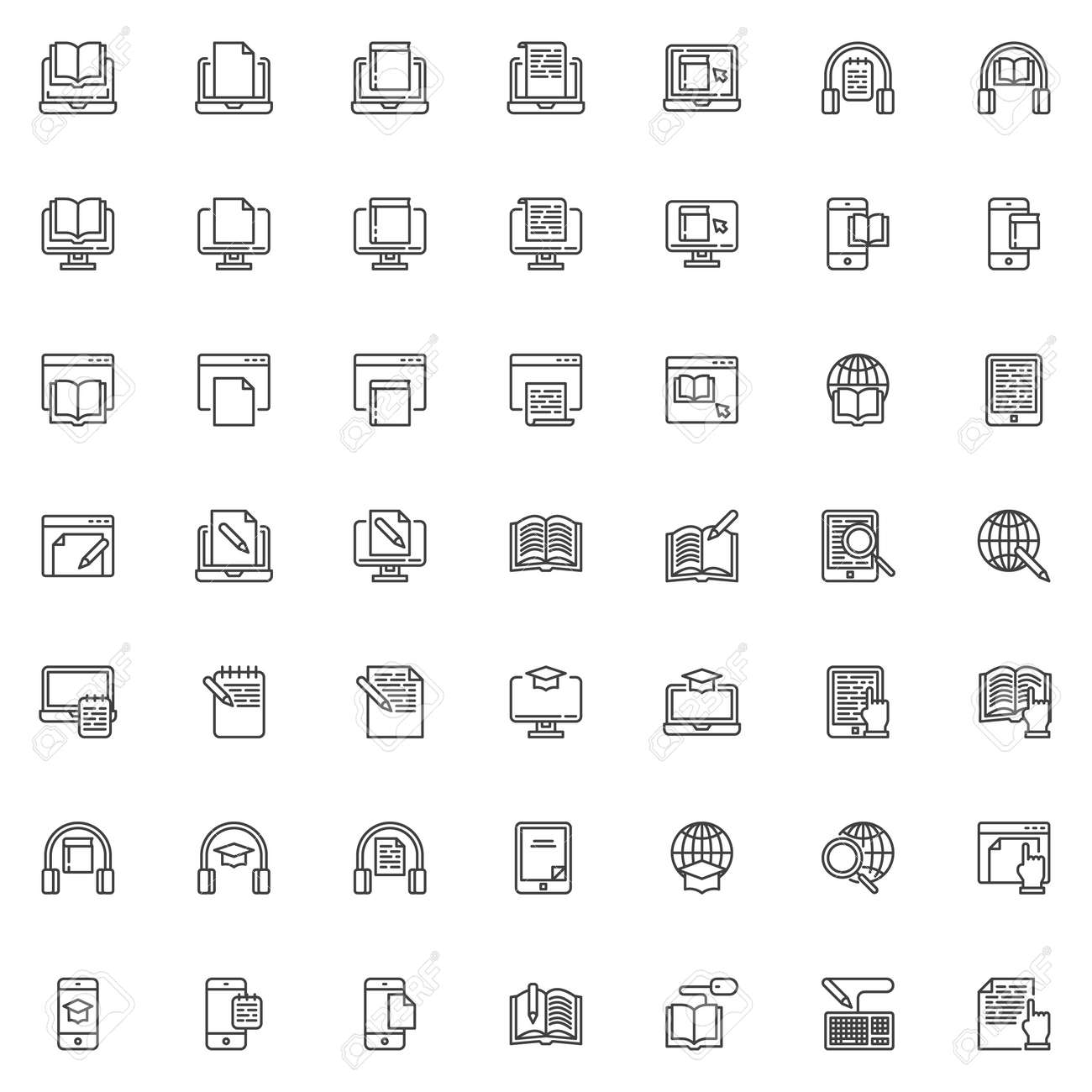 E-learning line icons set. linear style symbols collection, outline signs pack. vector graphics. Set includes icons as online bookstore, e-book reader, education, reading book, writing document, globe - 131367769