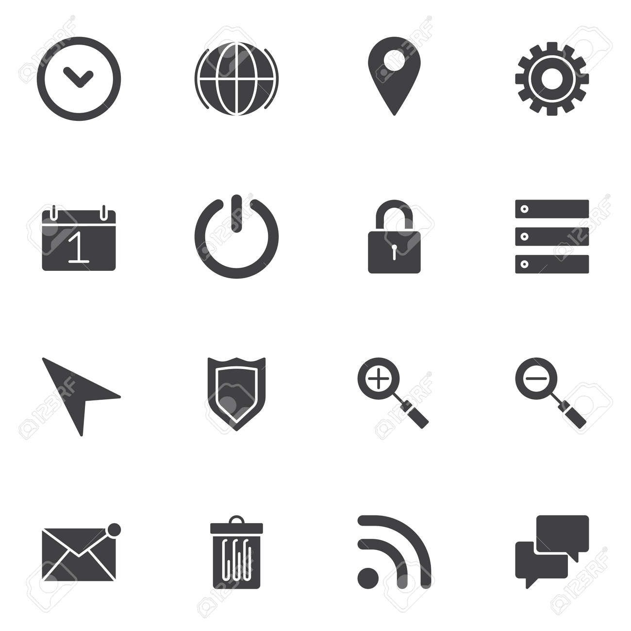 UI, Web essentials vector icons set, modern solid symbol collection, filled style pictogram pack. Signs, logo illustration. Set includes icons as settings configuration, power button, data storage - 138229026